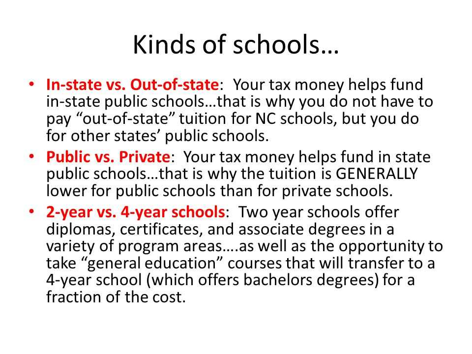 Kinds of schools… In-state vs.