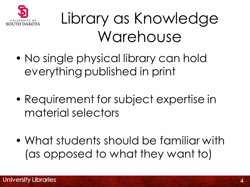 University Libraries Library as Knowledge Warehouse No single physical library can hold everything published in print Requirement for subject expertis