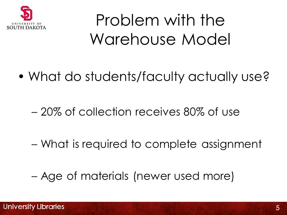 University Libraries Problem with the Warehouse Model What do students/faculty actually use.