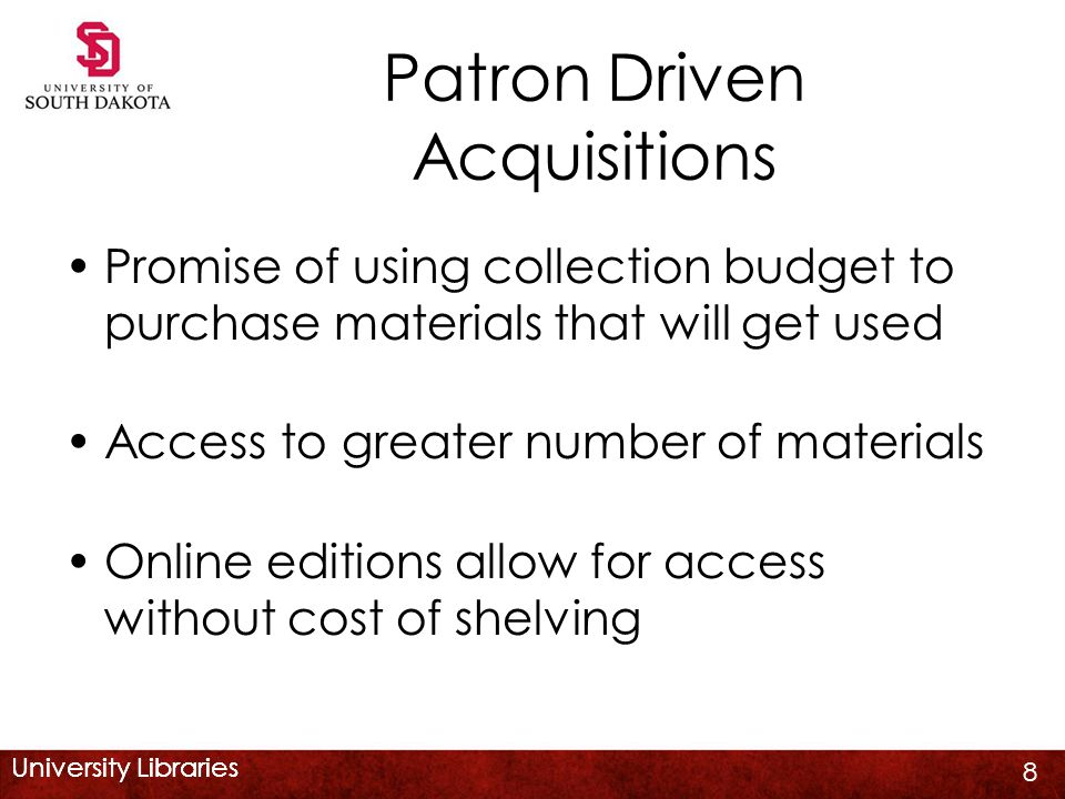 University Libraries The Patron Perspective DDA records appear in search results along with regular records Largely transparent to user as only indications are 'DDA' in the link to the item & code in Note field 'YBPDDA' No advertising of DDA program 19