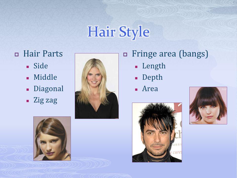  Hair Parts Side Middle Diagonal Zig zag  Fringe area (bangs) Length Depth Area