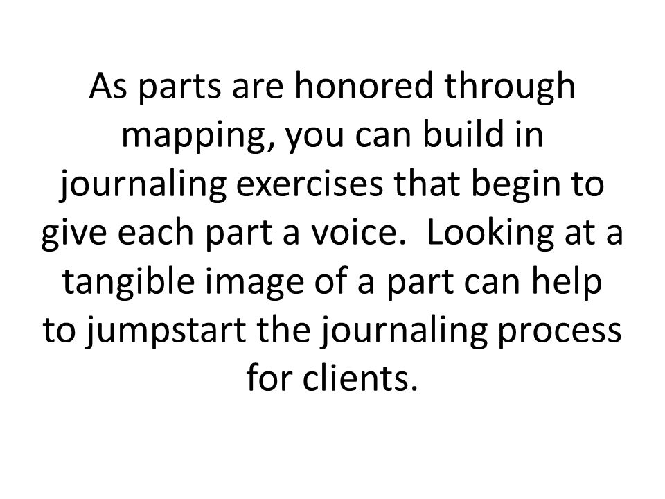 As parts are honored through mapping, you can build in journaling exercises that begin to give each part a voice.