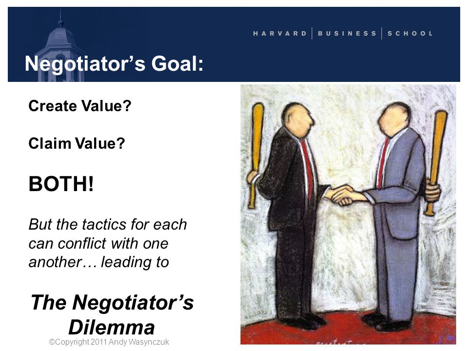 Negotiator's Goal: Create Value? Claim Value? BOTH! But the tactics for each can conflict with one another… leading to The Negotiator's Dilemma ©Copyr
