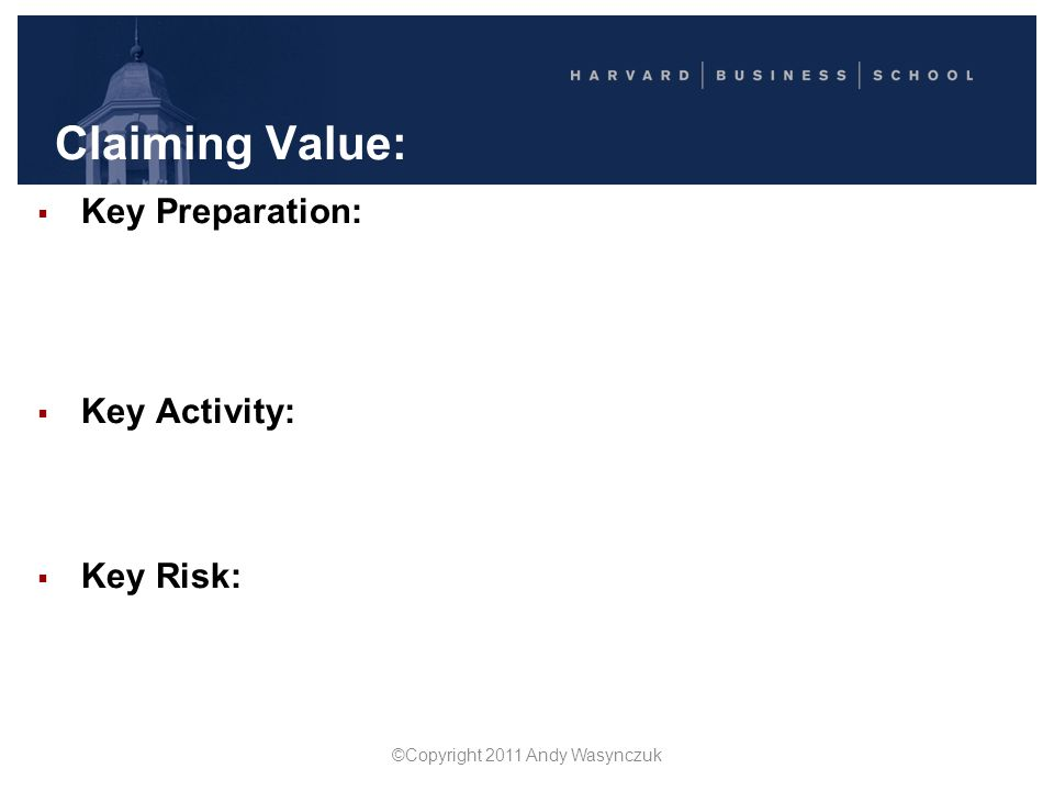 Creating Value  Key Preparation: Focus on interests… not just positions Ask, probe, learn, clarify Make clear your objectives Identify common ground AND differences  Key Activity: Solve their problem as well as yours (Don't just compromise… Trade on differences) in priorities in capabilities In assessments about the future  Key Risk: Cooperating while they're competing building trust developing relationships relying on reputation ©Copyright 2011 Andy Wasynczuk