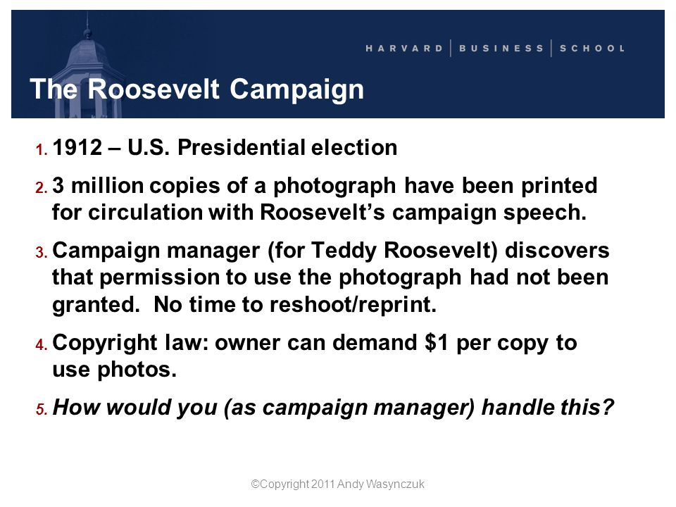 The Roosevelt Campaign Campaign manager sends telegram to copyright owner: We are planning to distribute millions of pamphlets with Roosevelt's picture on the cover.