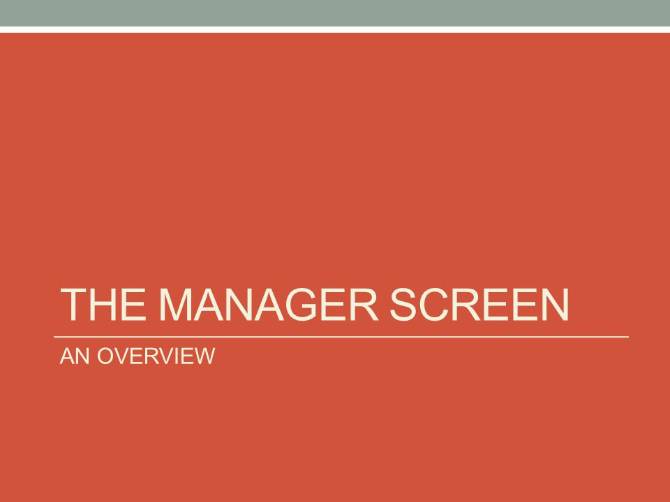 THE MANAGER SCREEN AN OVERVIEW