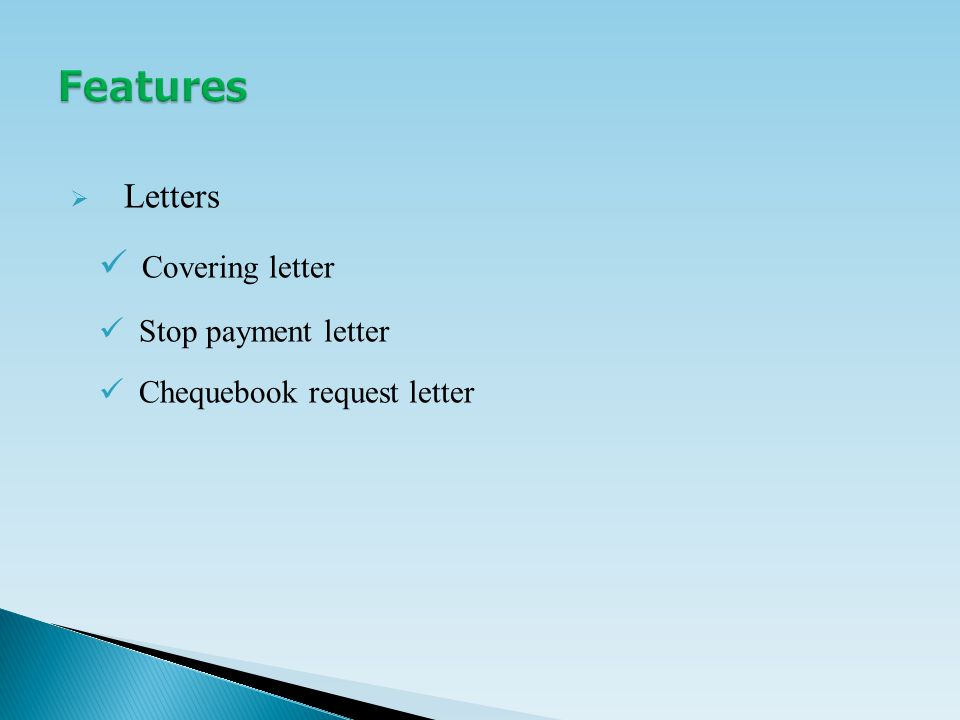  Letters Covering letter Stop payment letter Chequebook request letter