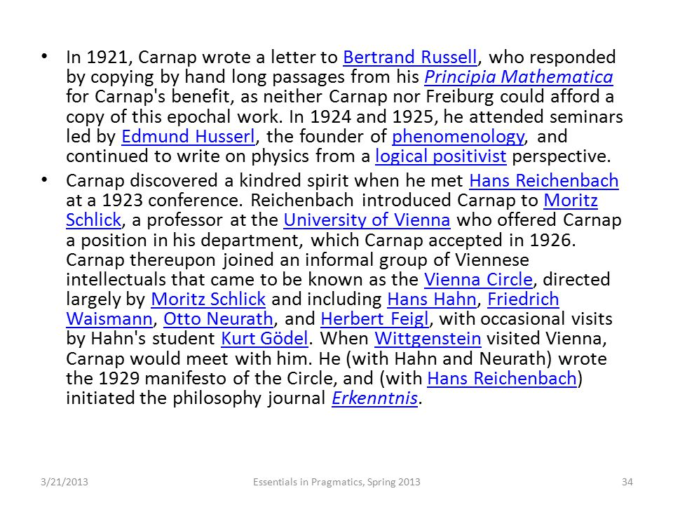 In 1921, Carnap wrote a letter to Bertrand Russell, who responded by copying by hand long passages from his Principia Mathematica for Carnap's benefit