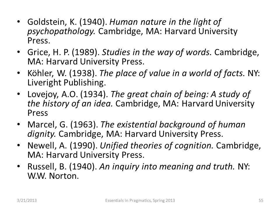 Goldstein, K. (1940). Human nature in the light of psychopathology. Cambridge, MA: Harvard University Press. Grice, H. P. (1989). Studies in the way o