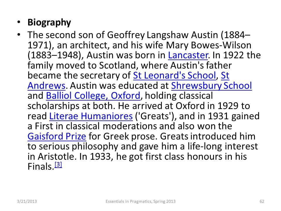 Biography The second son of Geoffrey Langshaw Austin (1884– 1971), an architect, and his wife Mary Bowes-Wilson (1883–1948), Austin was born in Lancas