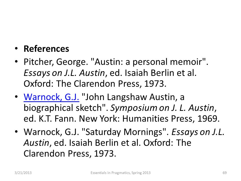 References Pitcher, George.