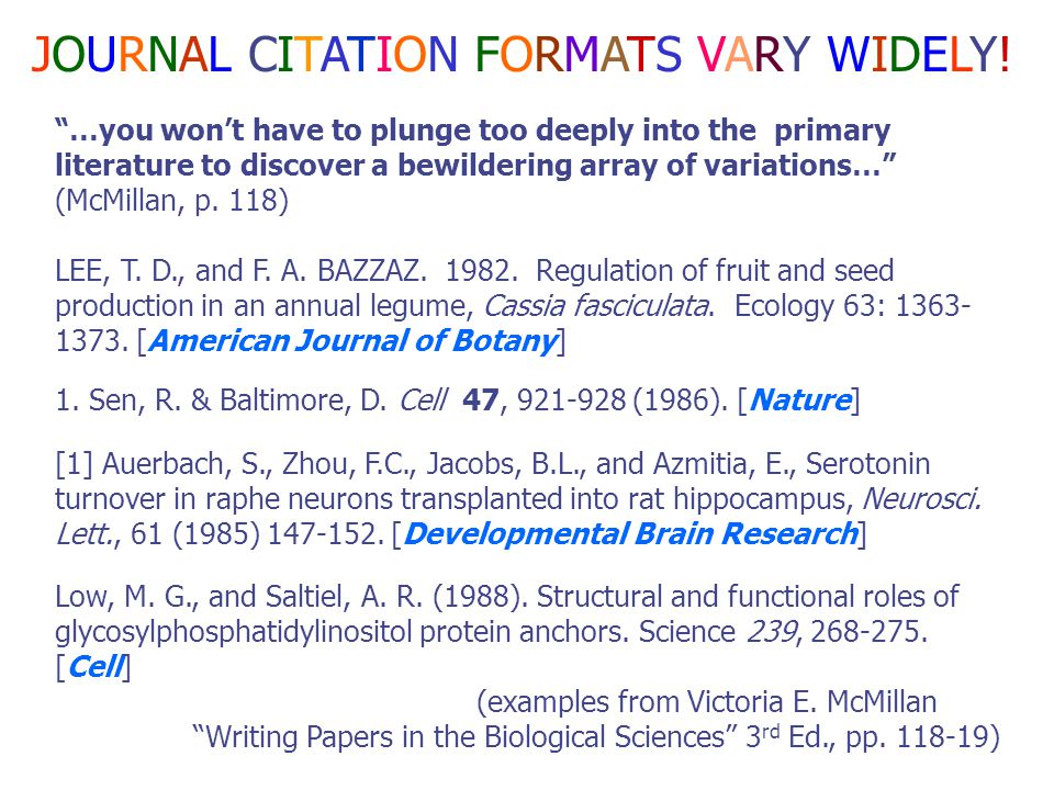 "1. Title of article 2. Author 3. Journal name (often called ""Source"") 4. Volume (and issue) number 5. Date 6. Page(s) * Print or e-mail your citations"