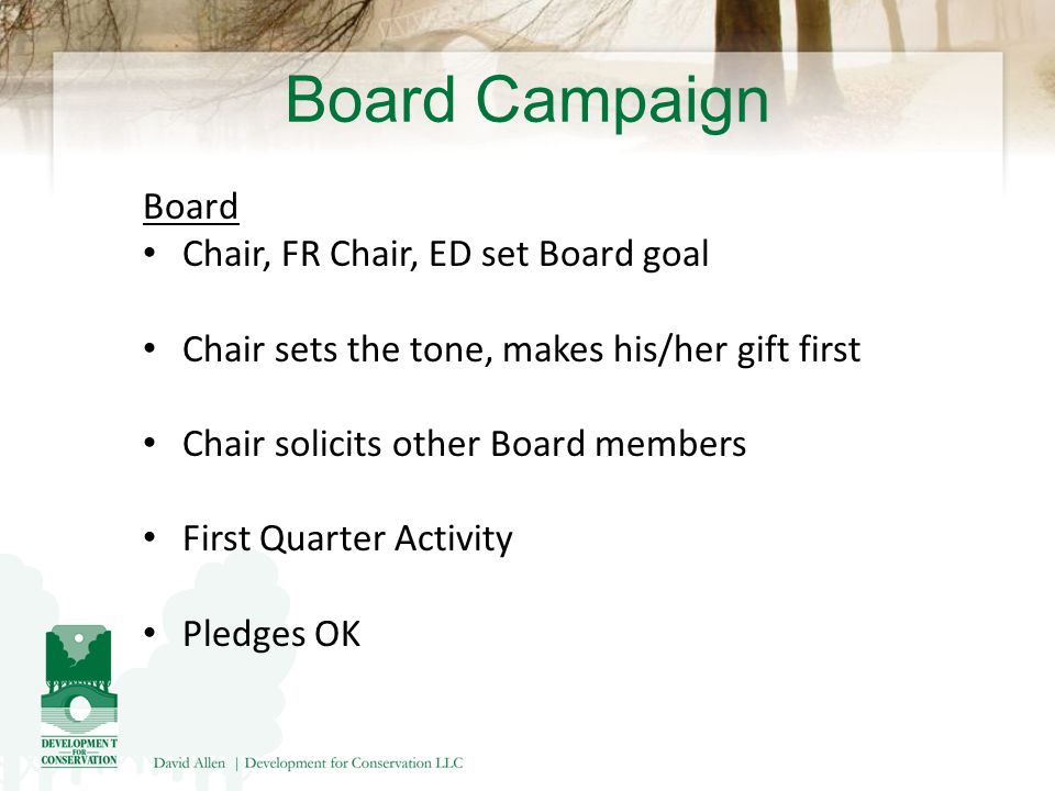Board Campaign Board Chair, FR Chair, ED set Board goal Chair sets the tone, makes his/her gift first Chair solicits other Board members First Quarter Activity Pledges OK