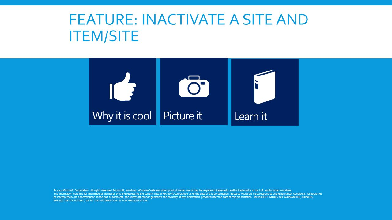 FEATURE: INACTIVATE A SITE AND ITEM/SITE © 2012 Microsoft Corporation. All rights reserved. Microsoft, Windows, Windows Vista and other product names