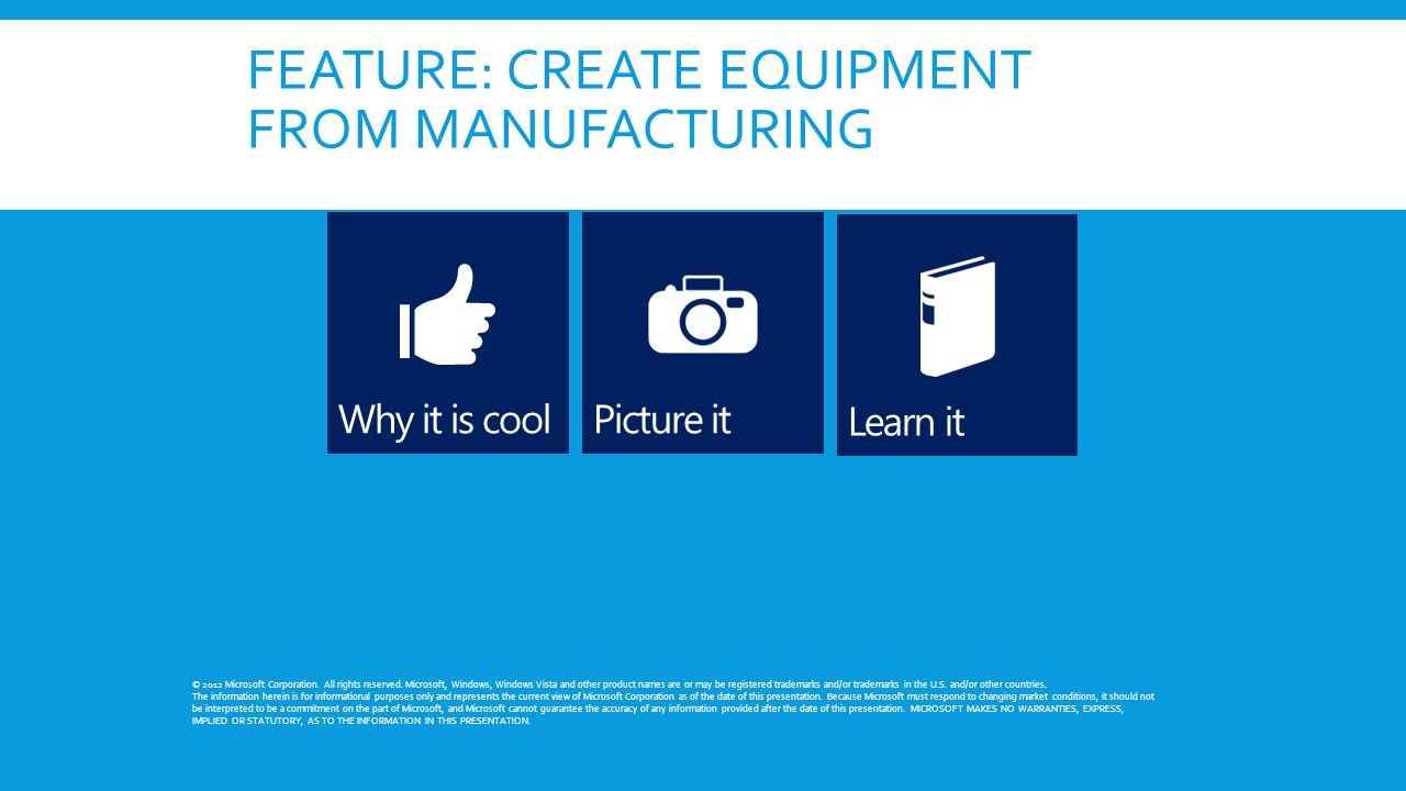 FEATURE: CREATE EQUIPMENT FROM MANUFACTURING © 2012 Microsoft Corporation.