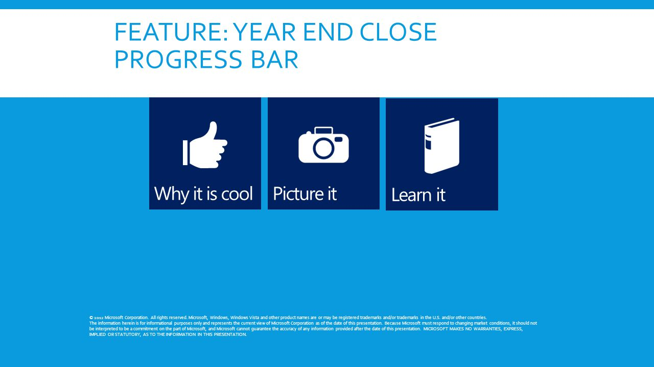 FEATURE: YEAR END CLOSE PROGRESS BAR © 2012 Microsoft Corporation. All rights reserved. Microsoft, Windows, Windows Vista and other product names are
