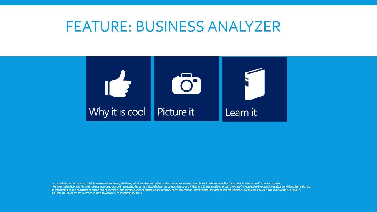FEATURE: BUSINESS ANALYZER © 2012 Microsoft Corporation.