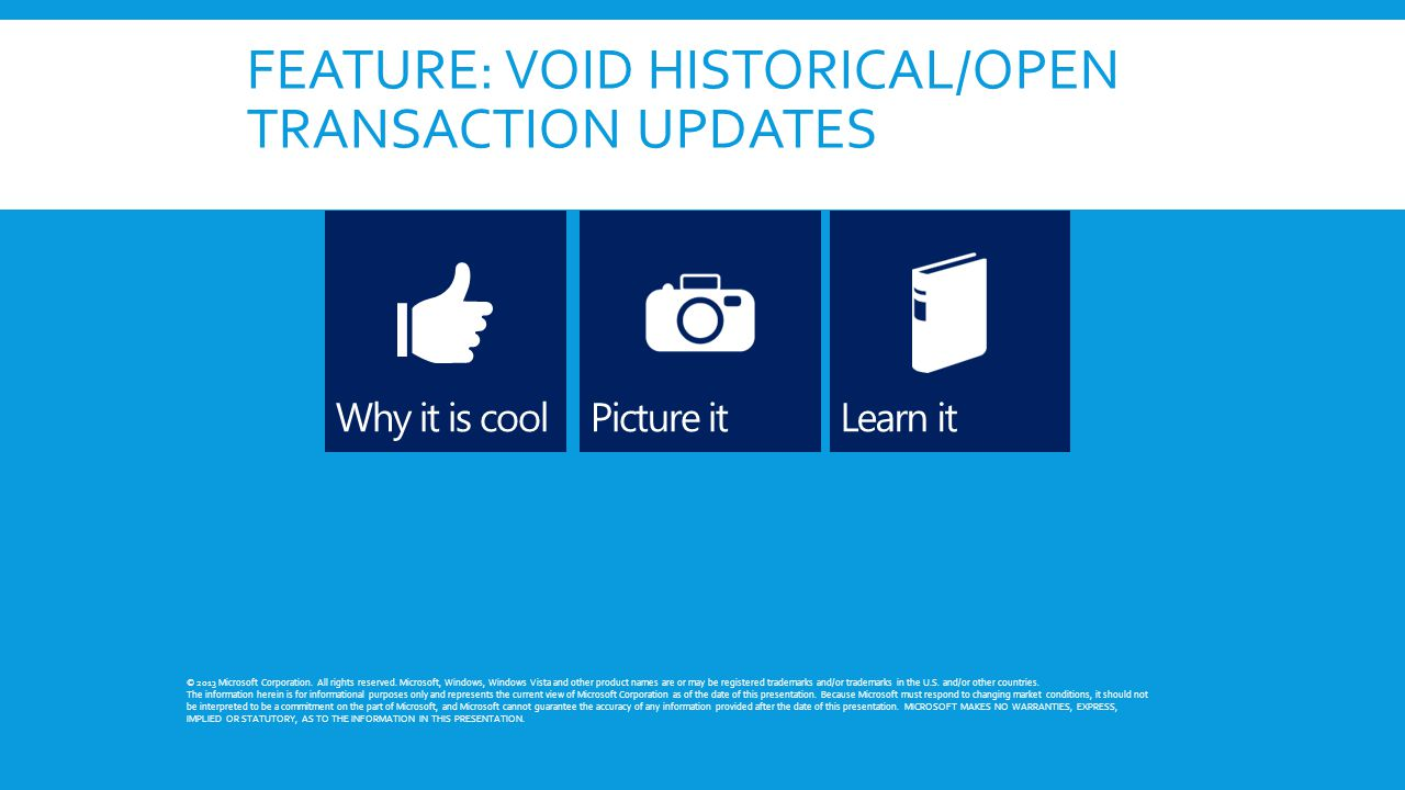 FEATURE: VOID HISTORICAL/OPEN TRANSACTION UPDATES © 2013 Microsoft Corporation. All rights reserved. Microsoft, Windows, Windows Vista and other produ