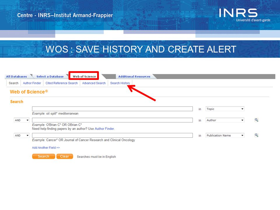 WOS : SAVE HISTORY AND CREATE ALERT