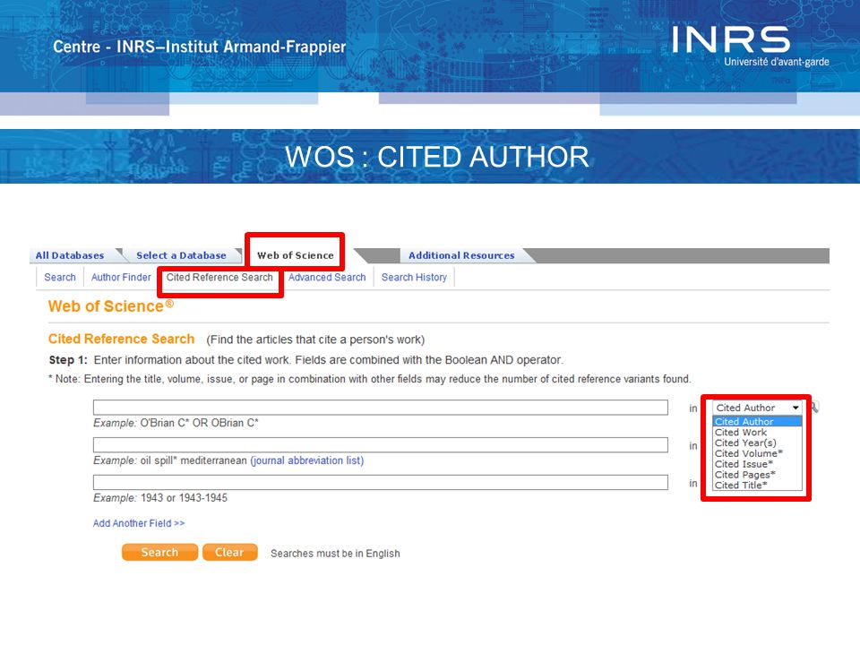 WOS : CITED AUTHOR