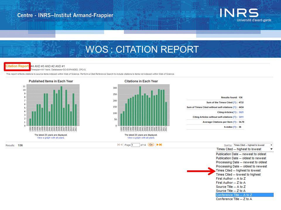 WOS : CITATION REPORT