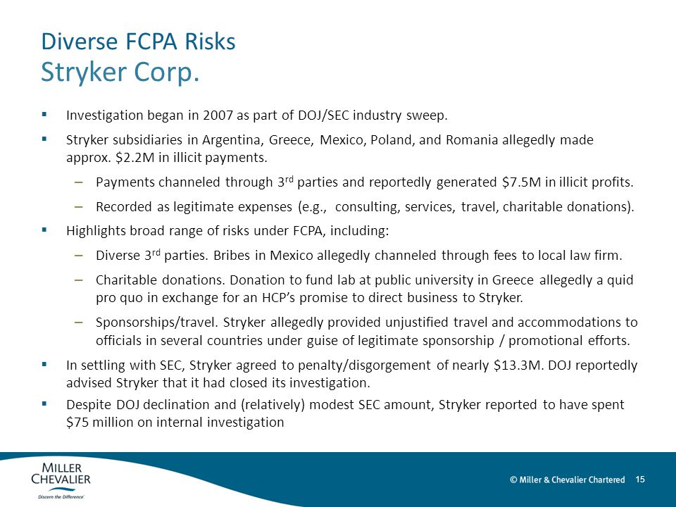15 Diverse FCPA Risks Stryker Corp.