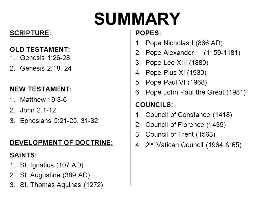 SUMMARY SCRIPTURE: OLD TESTAMENT: 1.Genesis 1:26-28 2.Genesis 2:18, 24 NEW TESTAMENT: 1.Matthew 19:3-6 2.John 2:1-12 3.Ephesians 5:21-25, 31-32 DEVELO