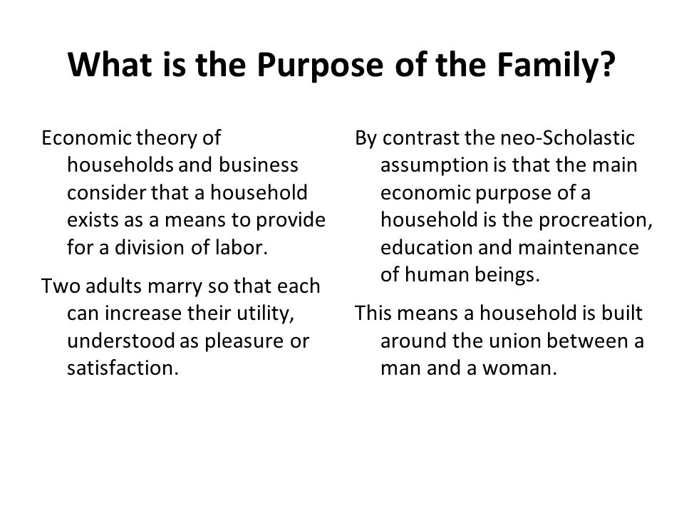 What is the Purpose of the Family.