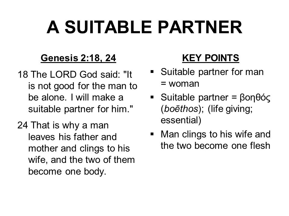 A SUITABLE PARTNER Genesis 2:18, 24 18 The LORD God said: It is not good for the man to be alone.