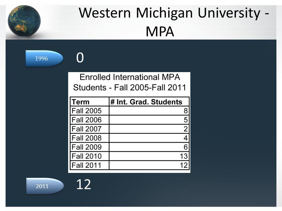 Western Michigan University - MPA 2011 0 12