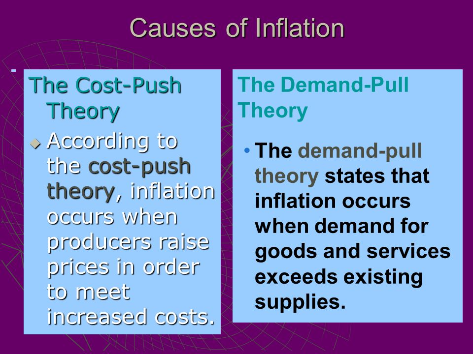 The Cost-Push Theory  According to the cost-push theory, inflation occurs when producers raise prices in order to meet increased costs. The Demand-Pu