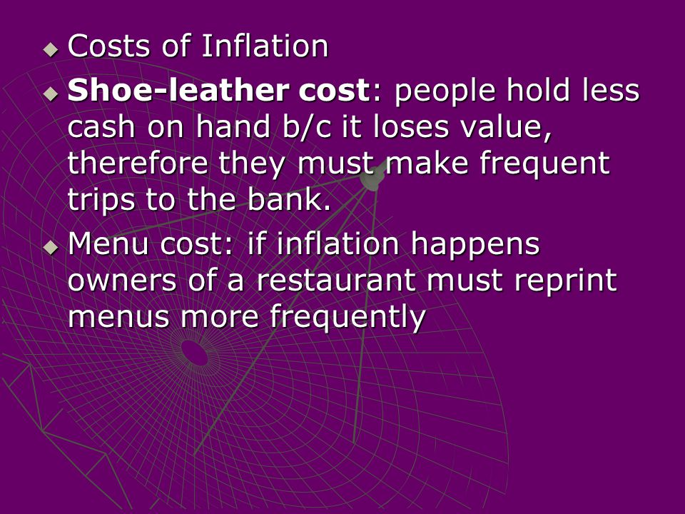  Costs of Inflation  Shoe-leather cost: people hold less cash on hand b/c it loses value, therefore they must make frequent trips to the bank.  Men