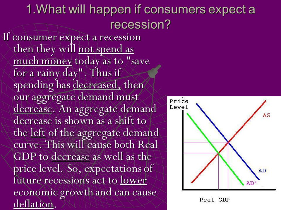 1.What will happen if consumers expect a recession? If consumer expect a recession then they will not spend as much money today as to
