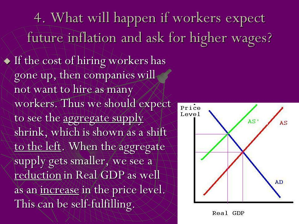 4. What will happen if workers expect future inflation and ask for higher wages?  If the cost of hiring workers has gone up, then companies will not
