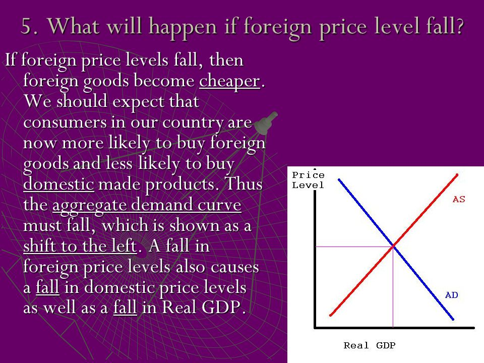 5. What will happen if foreign price level fall? If foreign price levels fall, then foreign goods become cheaper. We should expect that consumers in o