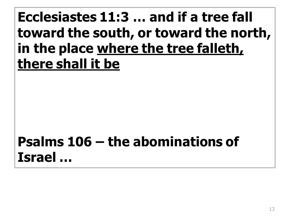 13 Ecclesiastes 11:3 … and if a tree fall toward the south, or toward the north, in the place where the tree falleth, there shall it be Psalms 106 – the abominations of Israel …