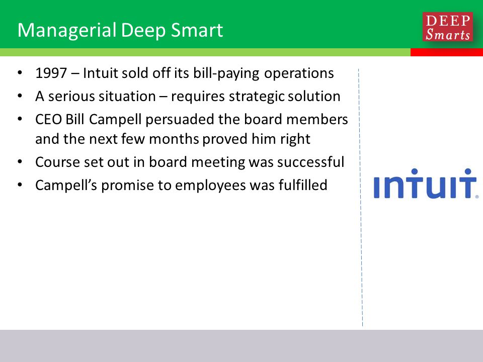 Managerial Deep Smart 1997 – Intuit sold off its bill-paying operations A serious situation – requires strategic solution CEO Bill Campell persuaded the board members and the next few months proved him right Course set out in board meeting was successful Campell's promise to employees was fulfilled