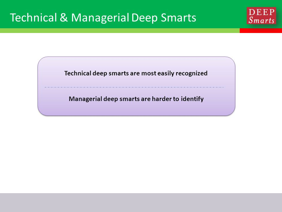 Technical & Managerial Deep Smarts Technical deep smarts are most easily recognized Managerial deep smarts are harder to identify Technical deep smarts are most easily recognized Managerial deep smarts are harder to identify