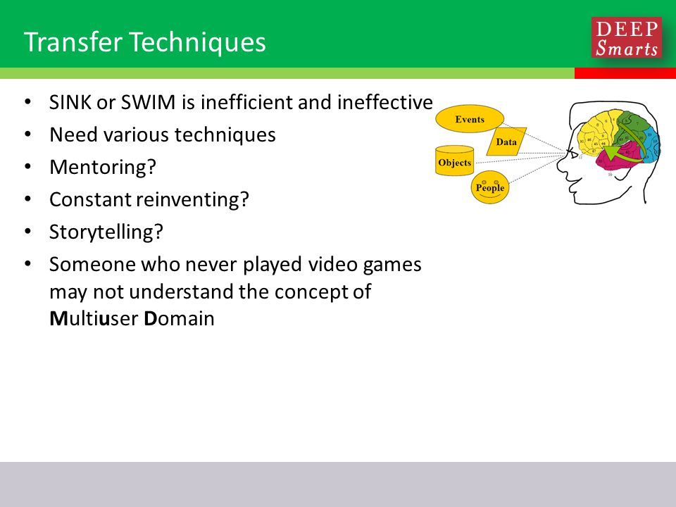 Transfer Techniques SINK or SWIM is inefficient and ineffective Need various techniques Mentoring.
