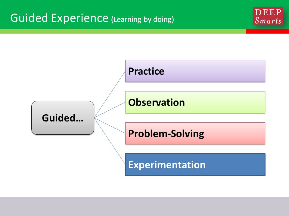 Guided Experience (Learning by doing) Practice Experimentation Problem-Solving Observation Guided…