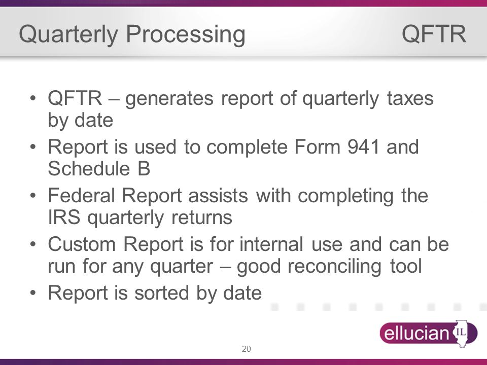 20 Quarterly Processing QFTR QFTR – generates report of quarterly taxes by date Report is used to complete Form 941 and Schedule B Federal Report assists with completing the IRS quarterly returns Custom Report is for internal use and can be run for any quarter – good reconciling tool Report is sorted by date