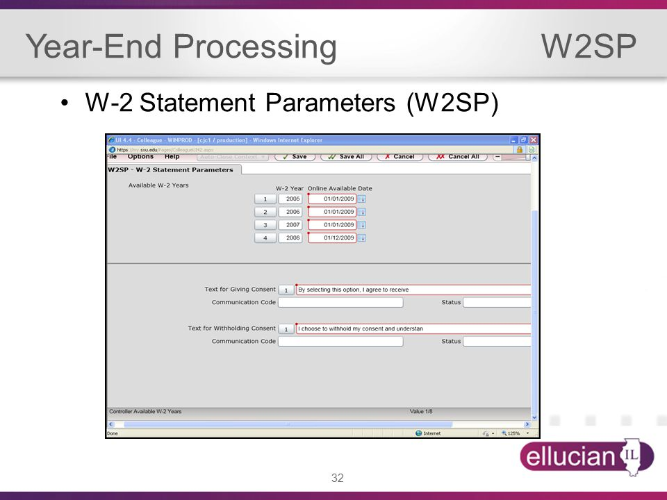 32 Year-End Processing W2SP W-2 Statement Parameters (W2SP)