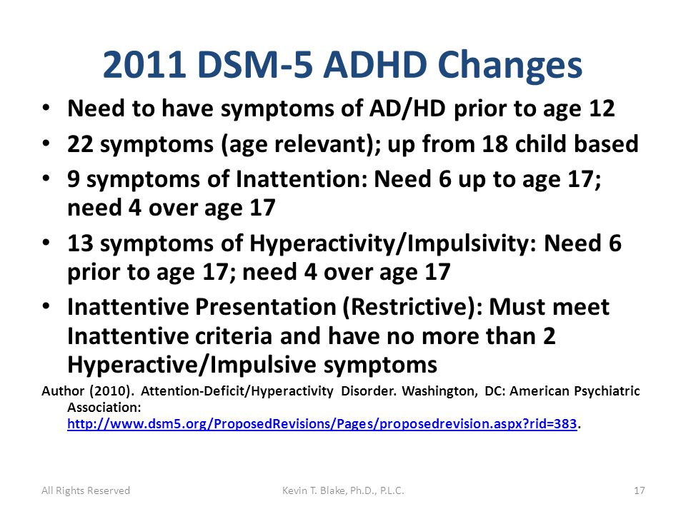 2011 DSM-5 ADHD Changes Need to have symptoms of AD/HD prior to age 12 22 symptoms (age relevant); up from 18 child based 9 symptoms of Inattention: Need 6 up to age 17; need 4 over age 17 13 symptoms of Hyperactivity/Impulsivity: Need 6 prior to age 17; need 4 over age 17 Inattentive Presentation (Restrictive): Must meet Inattentive criteria and have no more than 2 Hyperactive/Impulsive symptoms Author (2010).