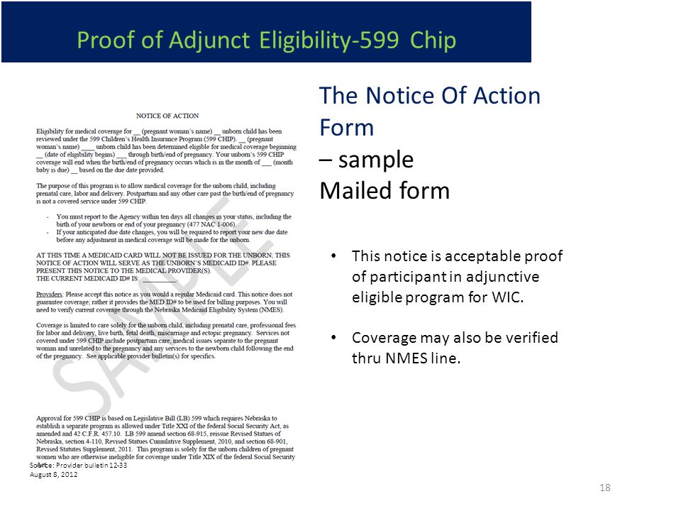 Proof of Adjunct Eligibility-599 Chip The Notice Of Action Form – sample Mailed form Source: Provider bulletin 12-33 August 8, 2012 This notice is acceptable proof of participant in adjunctive eligible program for WIC.