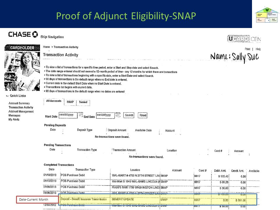 Proof of Adjunct Eligibility-SNAP Date-Current Month