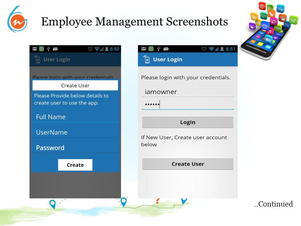 Employee Management Screenshots..Continued