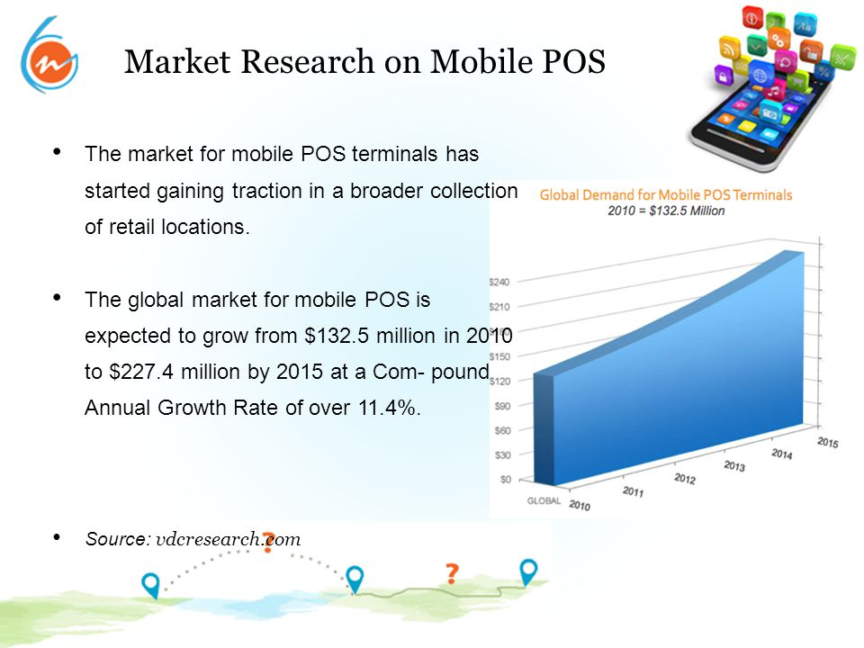 Market Research on Mobile POS The market for mobile POS terminals has started gaining traction in a broader collection of retail locations. The global