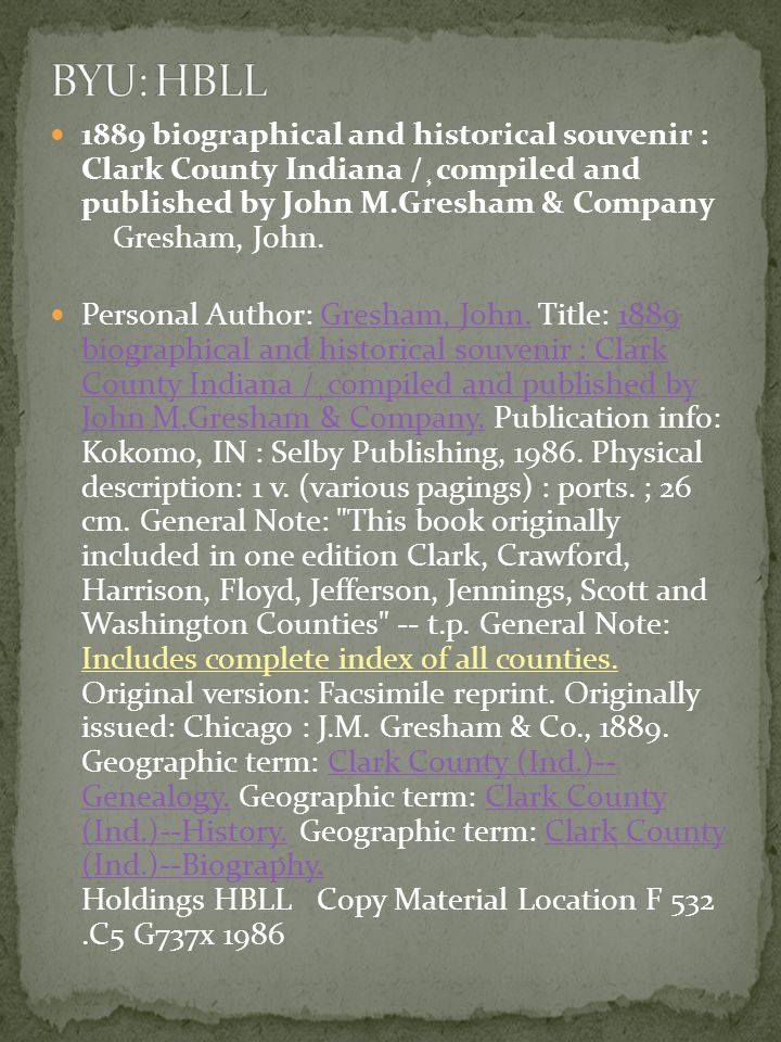 1889 biographical and historical souvenir : Clark County Indiana /¸compiled and published by John M.Gresham & Company Gresham, John.