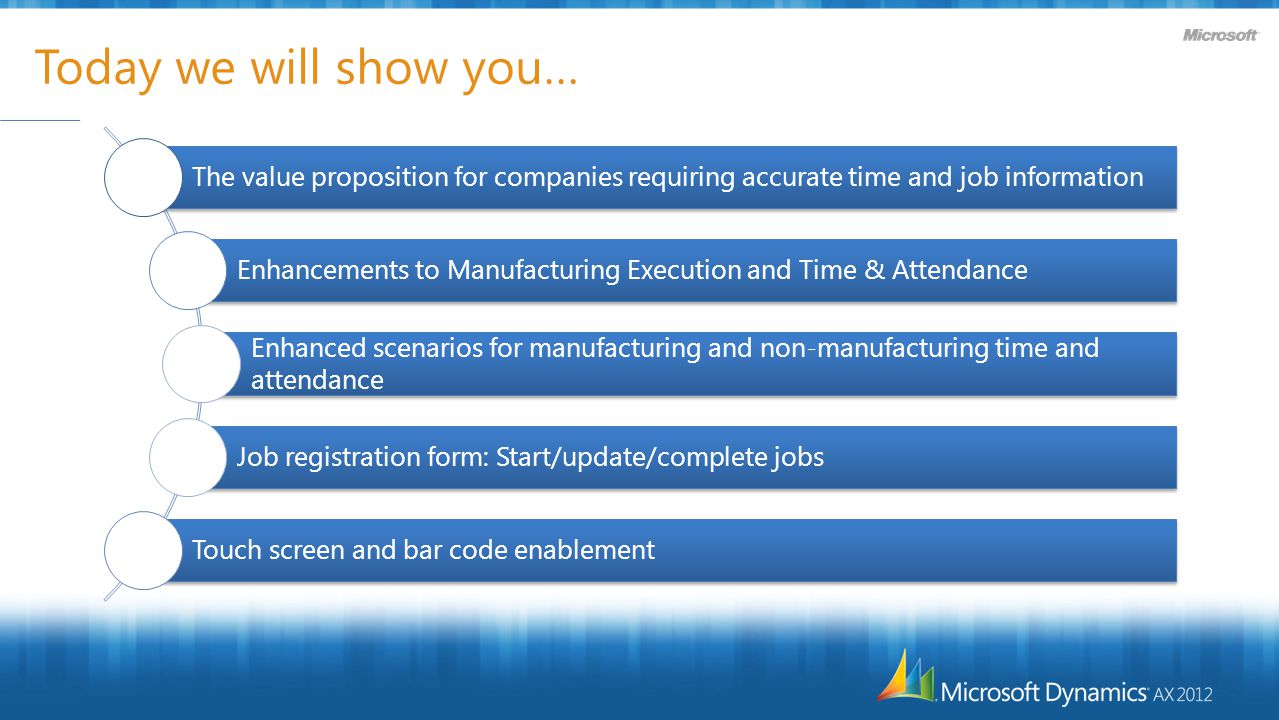Today we will show you… The value proposition for companies requiring accurate time and job information Enhancements to Manufacturing Execution and Time & Attendance Enhanced scenarios for manufacturing and non-manufacturing time and attendance Job registration form: Start/update/complete jobs Touch screen and bar code enablement