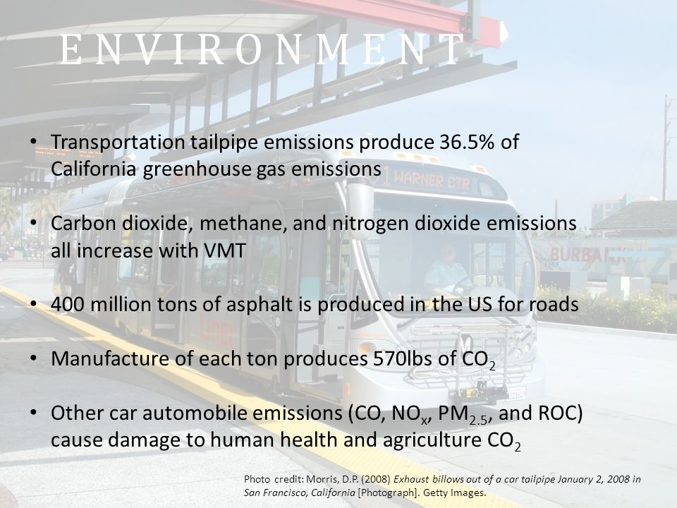 E N V I R O N M E N T Transportation tailpipe emissions produce 36.5% of California greenhouse gas emissions Carbon dioxide, methane, and nitrogen dioxide emissions all increase with VMT 400 million tons of asphalt is produced in the US for roads Manufacture of each ton produces 570lbs of CO 2 Other car automobile emissions (CO, NO x, PM 2.5, and ROC) cause damage to human health and agriculture CO 2 Photo credit: Morris, D.P.